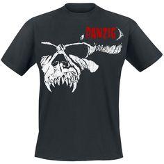 """Yksi hienoimmista kallodesigneista IKINÄ!    Danzig """"Half Skull"""" t-paita, 100% puuvillaa."""