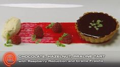 Baked Chocolate Praline Tart with a Raspberry Reduction and Chantilly Cream