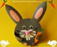 Lapin de Pâques réalisé avec une boîte de camembert, explications sur mon blog