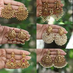 Indian Jewelry Earrings, Jewelry Design Earrings, Gold Earrings Designs, Antique Earrings, Necklace Designs, India Jewelry, Black Earrings, Jewelry Accessories, Pearl Earrings