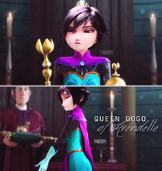 Big Hero 6 frozen Gogo Elsa<<she kinda looks like the original concept art, where Elsa has short hair and was intended to be the villain.