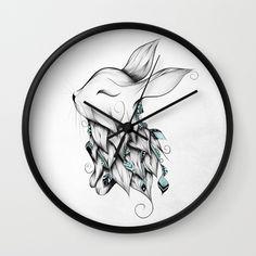 Poetic Rabbit Wall Clock #art #loujah #society6 #wallclock #horloge #pendule #deco #homedecor