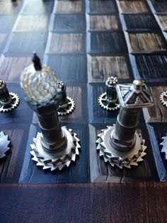Stunning Handmade / Handpainted Steampunk Chess Set - The Brass Caliper - 6