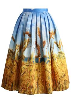 Golden Wheat Field Pleated Midi Skirt - Retro, Indie and Unique Fashion