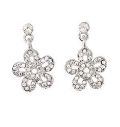 Flower Drop Earrings - Swarovski Crystals, 26mm drop Length, Rhodium Plated Silver Finish.