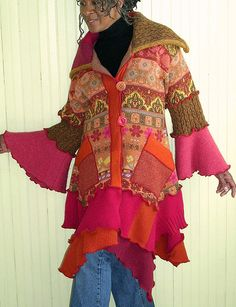 Pink and Orange Tailored Recycled Sweater Coat | Flickr - Photo Sharing!