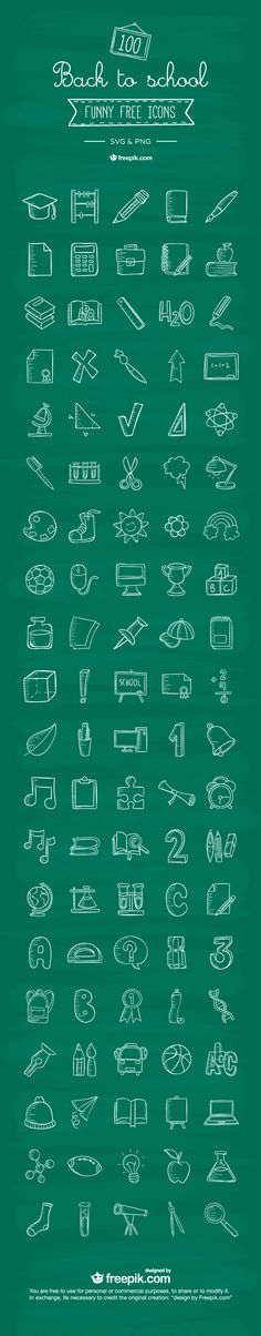 Free Download : 100 Back To School Icons | Designbeep