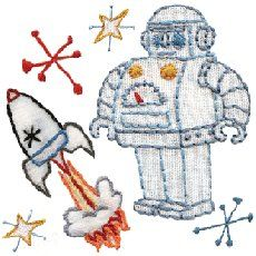 spaceship, robot, embroidery pattern