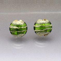 Lampwork glass beads green bead set flat beads by AnneLondezGlass, $19.95