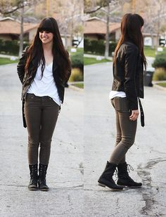 Leather Jacket, Jeggings, Boots