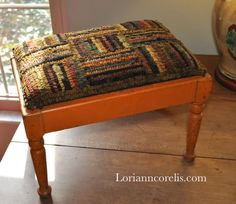 """I finished my """"side project"""" ! I purchased this antique footstool a long while ago with the thought of hooking a top for it. O..."""