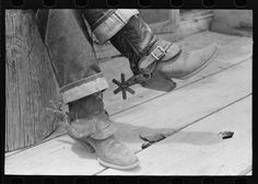 Detail of rancher's boots and spurs, Pie Town, New Mexico - By Lee Russell, June, 1940.
