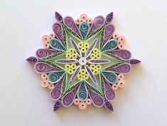 Quilled Snowflakes Paper Quilling Art Christmas Tree Decor Winter Hanging Ornaments Gifts Toppers Filler Office Corporate Purple Pink Yellow This is unique handmade quilled snowflake. Amazing Christmas gift for Your loved ones and suitable for all winter occasions. You can hang it on