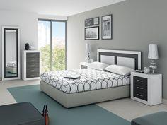 Dormitorio de matrimonio en blanco brillo y grafito compuesto por cabecero y dos mesitas.  Sinfonier de 5 cajones y espejo, opcional por sólo: 255€.