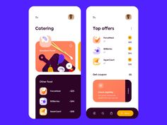 Mobile app - Best Catering designed by Outcrowd . Connect with them on Dribbble; the global community for designers and creative professionals. Web Design, Website Design Layout, App Ui Design, Graphic Design, Flat Design, Design Trends, Design Thinking, Catering Design, Ui Design Mobile
