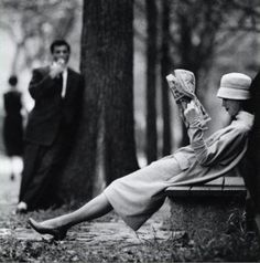 I am so in love with them: Woman on a park bench in Central Park, New York, 1957. Photo by Yale Joel.