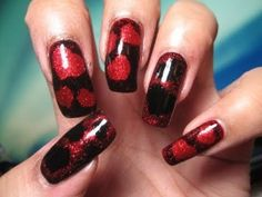 Red & Black Sponged Hearts Nail Art Tutorial