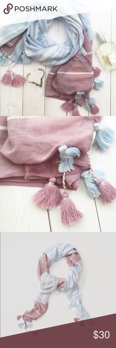 Lightweight Pastel Tassel Scarf Lightweight square scarf in mauve, light blue, and white, with a striped pattern and tassels along the edge. NWT 07141609 LOFT Accessories Scarves & Wraps