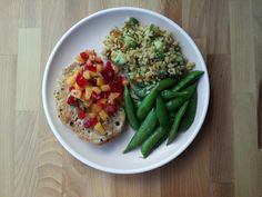 garlic & pepper seared pork w/ stone fruit salsa.  sautéed snap peas.  rice salad with shallot vinaigrette and herbs.