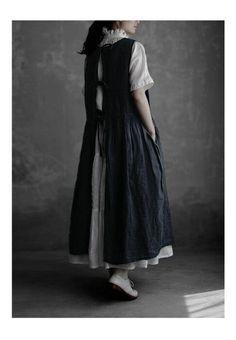 Long Skirt Fashion, Modest Fashion, Boho Fashion, Boho Outfits, Dress Outfits, Fashion Outfits, Linen Dresses, Modest Dresses, Apron Designs