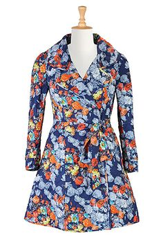 I <3 this Quilted floral print trench from eShakti