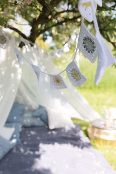 crochet bunting-would make a beautiful background layered up! Wedding Decorations On A Budget, Budget Wedding, Wedding Centerpieces, Wedding Blog, Wedding Planning, Dream Wedding, Wedding Day, Wedding Bunting, Rustic Wedding