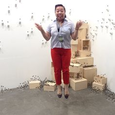 Final day of Art Stage Singapore! Mylyn Nguyen is taking flight among her paper bees!