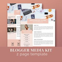 Blogger Media Kit Template / Press Kit Template / Sponsorship / Photoshop /US letter size / INSTANT DOWNLOAD by JKBlogBrand on Etsy
