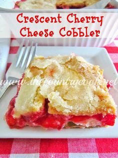 The Country Cook: Crescent Cherry Cheese Cobbler 8 oz tube crescent rolls 12 oz (1 1/2 blocks) cream cheese, room temp 3/4 c sugar, divided 1 tsp vanilla 1 can (21 oz) cherry pie filling 1/4 c butter, melted