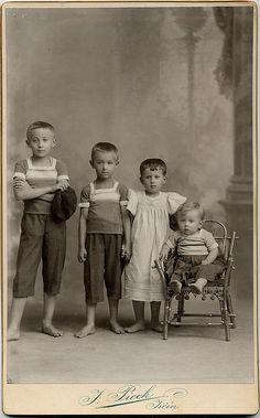 +~+~ Antique Photograph ~+~+  Barefoot and adorable!  Bohemia, Czechia 1903