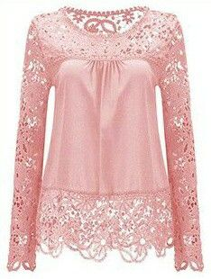 Summer Chiffon Lace Blusa Blouse Chemise Femme Plus Size Blusas Long Sleeve Women Tops Shirt Women Clothes Just look, that`s outstanding! Pink Lace Tops, Lacy Tops, Crop Tops, Pretty Outfits, Blouses For Women, Ideias Fashion, Womens Fashion, Ladies Fashion, Dresses