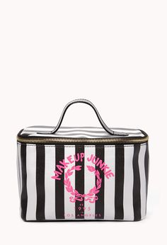 Makeup Junkie Cosmetic Bag | FOREVER21 Are you a makeup junkie? #Cosmetics #Stripes #HotPink #LoveAndBeauty
