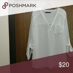 Maurice's Top Sheer white w/gold speck embellishments Maurices Tops Blouses