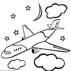 Mewarnai Gambar Pesawat Terbang Yang Bagus