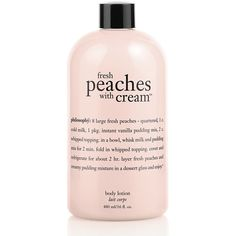 Philosophy Fresh Peaches With Cream Lotion 16oz ($24) ❤ liked on Polyvore featuring beauty products, bath & body products, body moisturizers, beauty, makeup, cosmetics, fillers, backgrounds and body moisturizer
