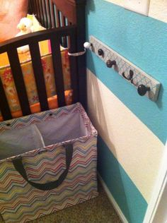 Project Nursery - Turquoise Striped and Pink Nursery Wall Hooks