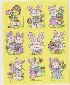 Vintage Rare Easter Bunnies 80's sticker sheet by Hallmark