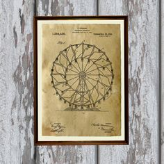 Carousel print. Ferris wheel poster printed on aged paper. Patent art print - handmade antique home decor. SIZE: 8.3 x 11.7 (A4)  Paper for each print