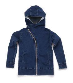 diagonal denim zip hoodie