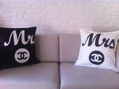 mr & mrs kussens met chanel teken. set van 2 kussens 30 euro. verkrijgbaar via www.philomenelensveld.blogspot.nl of via facebook