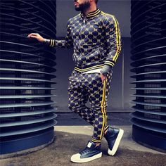 New Printed Men Set Colorful Plaid Men Casual Zipper Set Autumn Spring Sporting Tracksuit Set Male Sweatshirt Multi-pocket Fashion Jackets Men Tracksuit Sets Men 2 Pcs Tracksuit Sportswear Sweatshirt Pants Suit Terno Casual, Casual Suit, Sport Casual, Casual Wear, Jogger Pants, Joggers, Sweat Shirt, Shirt Men, Sweatshirt