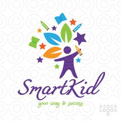 Exclusive Customizable Logo For Sale: Smart Kid | StockLogos.com Preschool Logo, Kindergarten Logo, Bulletin Board Design, Education Logo Design, Toys Logo, Make Your Own Logo, Website Themes, Logo Maker, Graphic Design Posters