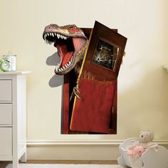 3D Dinosaur Through Door Wall Decal