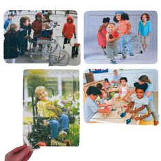Pack of 4 Races And Abilities Jigsaw Puzzle Set 16 piece puzzles - Friends, Red Ball, Flowers and Sandpit. These tray puzzles show children of different abilities and races interacting and playing together.
