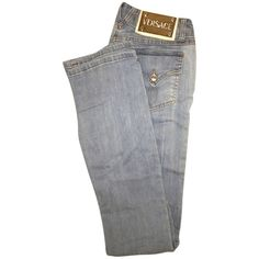 Pre-owned Versace Straight Leg Jeans ($140) ❤ liked on Polyvore featuring jeans, pants, bottoms, blue jeans, versace jeans, versace and straight leg jeans