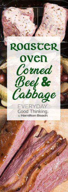 Roaster Oven Corned Beef & Cabbage Corned Beef Brisket Oven, Baked Corned Beef, Crock Pot Corned Beef, Cooking Corned Beef, Corned Beef Recipes, Corned Beef Oven Recipe, Cooking Turkey, Venison, Cooking