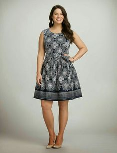 83c8849e0 Plus Size Medallion Fit-and-Flare Dress - Dress Barn