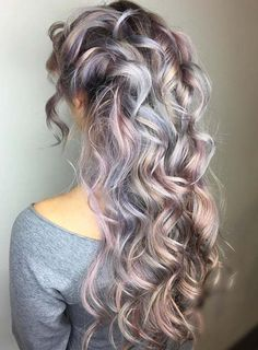 Pastel and Neon Hair Colors in Balayage and Ombre: Silver Lavender Hair  #pastelhair #haircolors #neonhair #rainbowhair