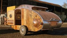 "Fantastic-looking steampunk teardrop trailer comes equipped with a chandelier and ""library"" - Living in a shoebox Teardrop Trailer For Sale, Teardrop Trailer Plans, Teardrop Caravan, Trailer Diy, Trailer Build, Teardrop Campers, Tiny Trailers, Trailers For Sale, Vintage Trailers"