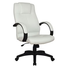 Basil White Leatherette Pneumatic Lift Office Chair | Overstock.com Shopping - The Best Deals on Executive Chairs